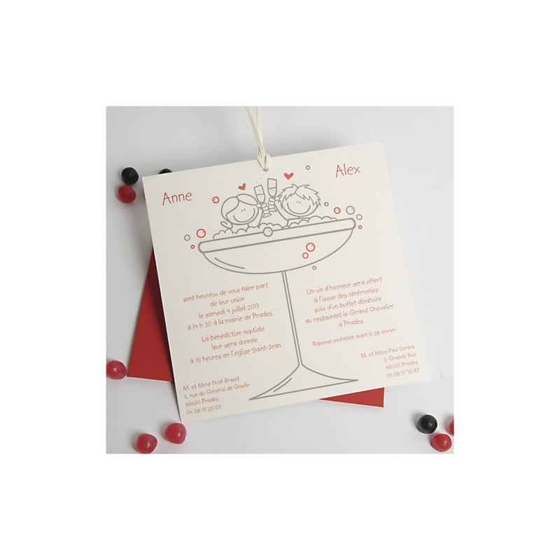 faire part mariage pochette rouge moderne humour 1 98 grenoble amalgame imprimeur graveur. Black Bedroom Furniture Sets. Home Design Ideas